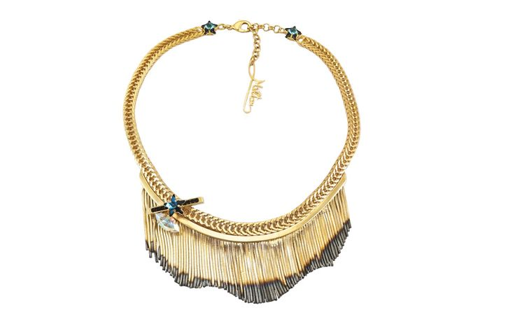 Crystals Fringe Necklace - 24 Kt Gold plated shading brass.Swarovski Crystals.Lobster clasp closure.Hand Made in Italy
