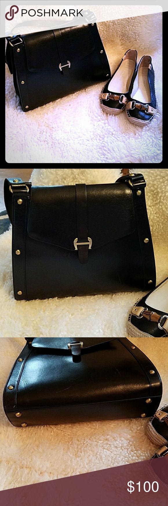 Etienne aigner black leather gloves - Etienne Aigner Black Cowhide Leather Shoulder Bag