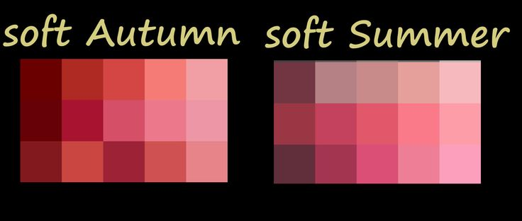 Soft Autumn compared to soft Summer reds/pinks .... notice S.Autumn has a golden or orangy undertone while soft summer has a blue undertone -- just a smidgen different