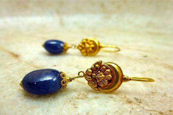 Cabochon Blue Sapphire and 18k Yellow Gold SELENE Dangle Earrings