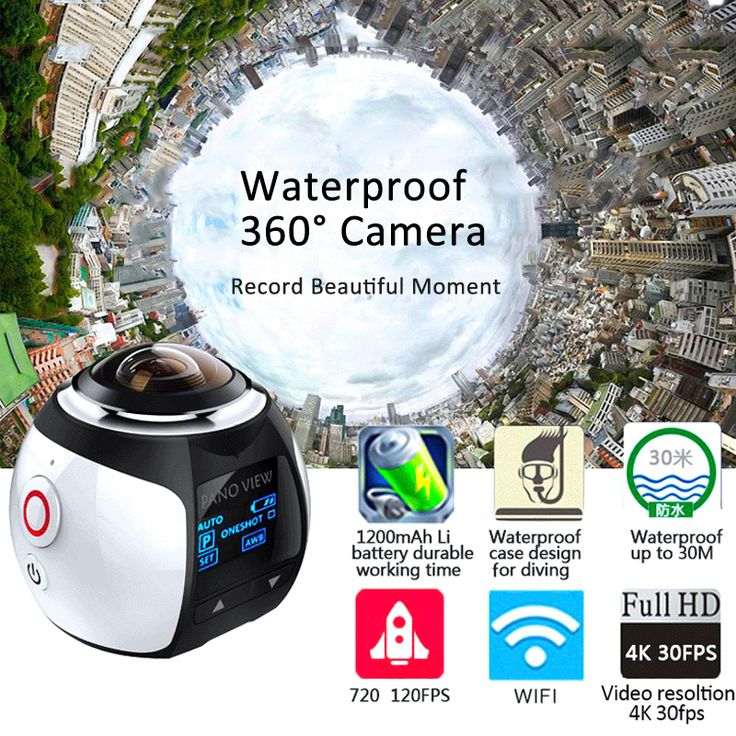 360° Mini WiFi Panoramic Video Camera 2448P 16MP 3D Sports DV VR Video And ABS