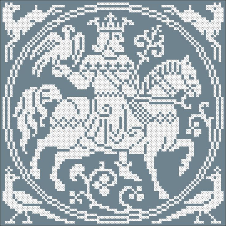 Gothic knight | Chart for cross stitch or filet crochet.