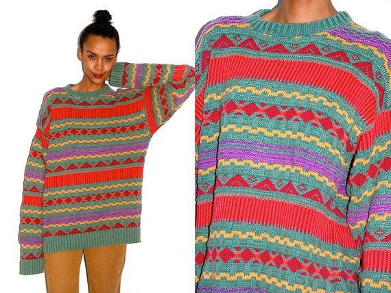 Vtg Grandpa Knit Tribal Printed Green Yellow Red by LuluTresors, $32.99