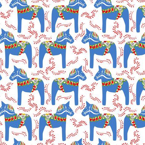 dala horses - blue fabric by ravynka on Spoonflower - custom fabric