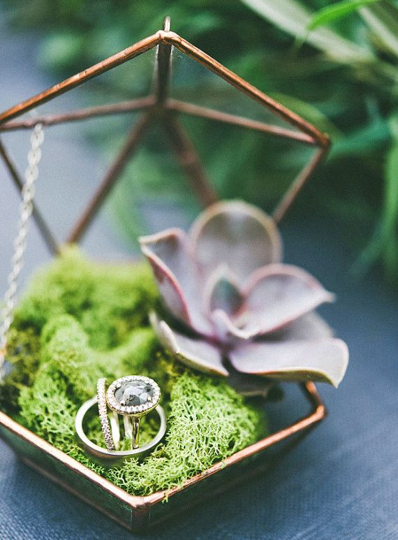 Glass Ring Box Wedding Ring Box Engagement Ring Box Geometric