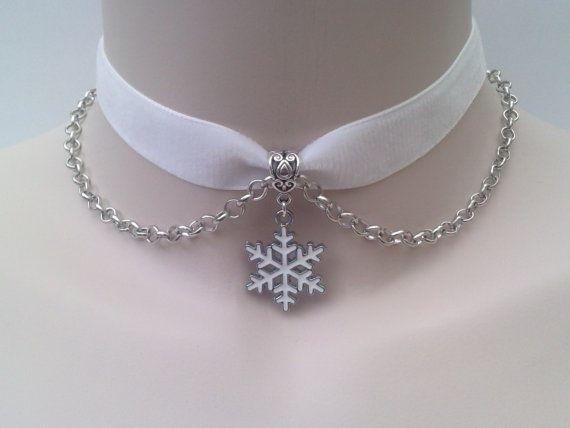 White SNOWFLAKE Charm With Chain  -  WHITE 16mm Velvet Ribbon Choker Necklace -mm... or choose another colour velvet :) on Etsy, $5.50