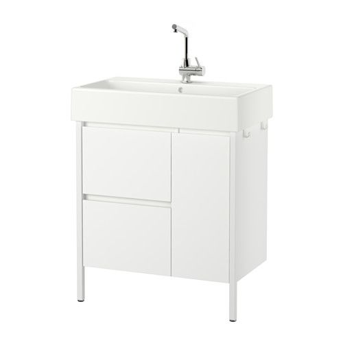 IKEA - YDDINGEN, Sink cabinet with 2 drawers/1 door, , Hooks for towels or other things that you want to have within easy reach.Smooth-running and soft-closing drawers with pull-out stop.You can easily see and reach your things because the drawers pull out fully.The included water trap is easy to connect to the drain, washing machine and dryer because it is flexible.Unique water trap design gives room for a full sized drawer.Adjustable feet for increased stability and protection against wet…
