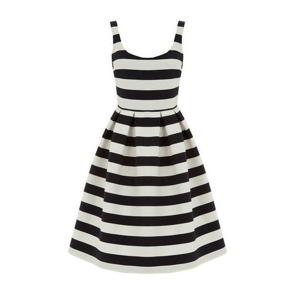 Warehouse Stripe Prom Dress (£79) ❤ liked on Polyvore featuring dresses, black stripe, striped dress, sleeveless dress, textured dress, sleeveless pleated dress and striped sleeveless dress