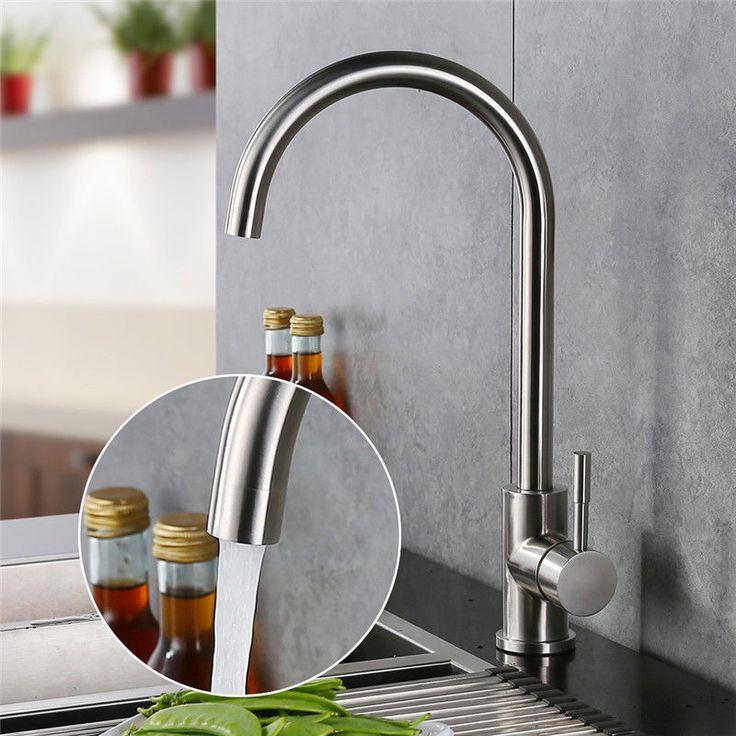 360° Drehbar Edelstahl Armatur Küche Spültisch Wasserhahn Einhebel Mischbatterie