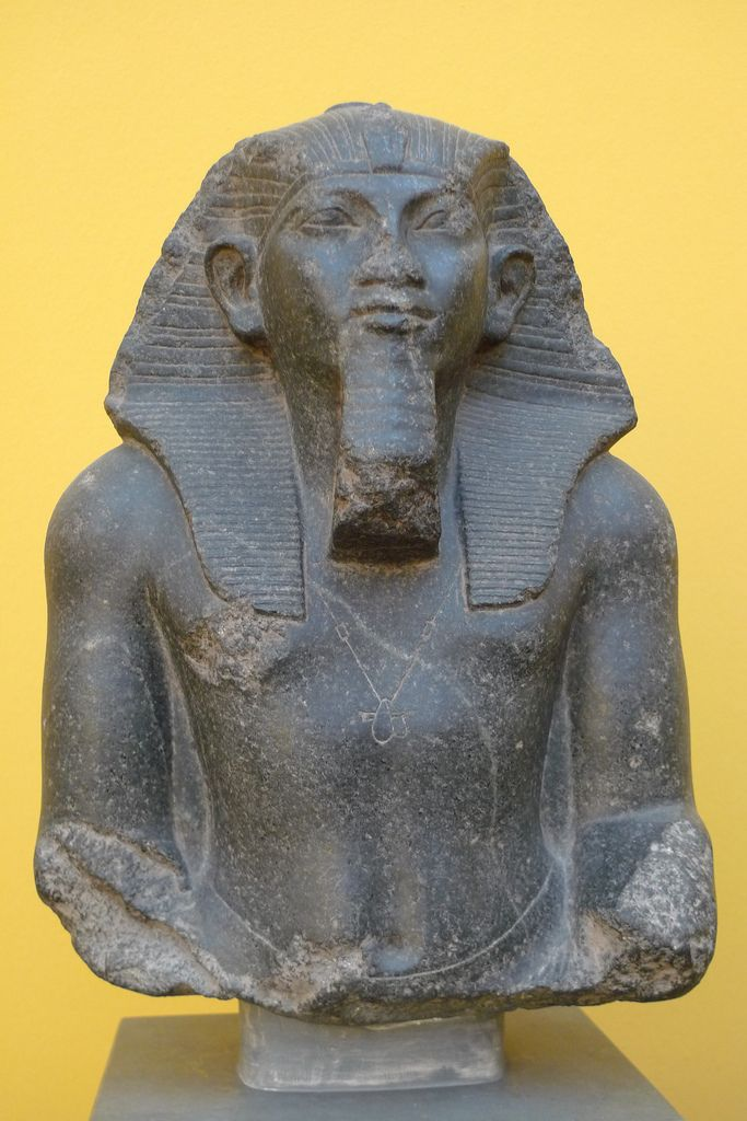 King Amenhemhat III, wearing a striped Nemes headcloth. The Nemes worn by kings were more angular and pyramidal than that worn by nobles and women. 12th dynasty, ancient Egypt, Middle Kingdom. Glyptotek museum