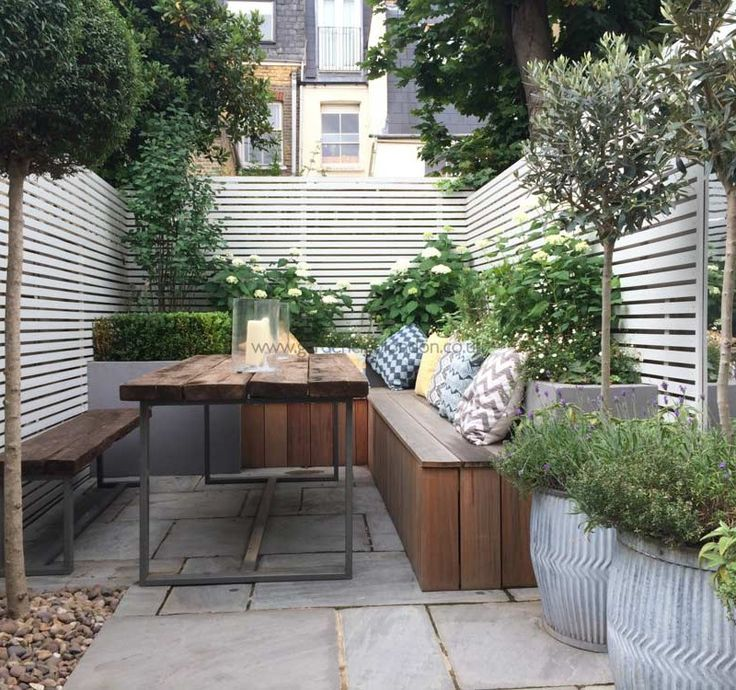 contemporary small urban garden in london with table benches and white fence - Backyard Space Ideas