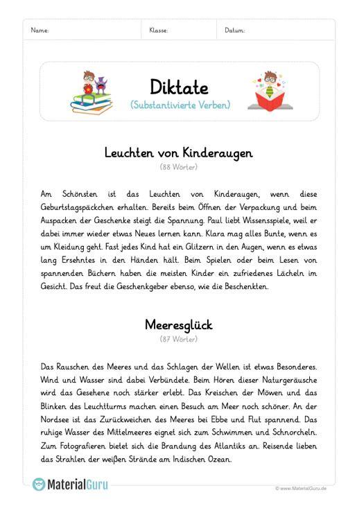 diktat substantivierte verben unterrichtsmaterialien deutsch unterricht diktat klasse 5. Black Bedroom Furniture Sets. Home Design Ideas