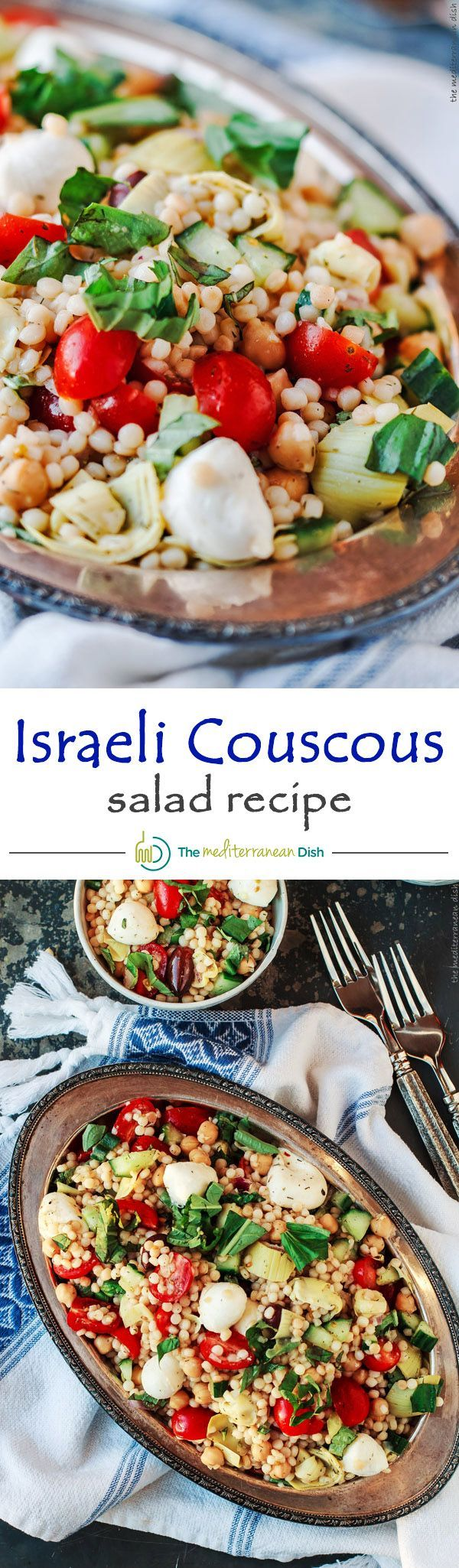 Flavor-packed Israeli Couscous Salad with lots of chopped vegetables, chickpeas and artichokes. The perfect healthy and tasty bowl.