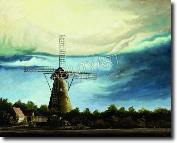 """Coen de Rooij è originario dell'Olanda. Ha creato l'opera """"Cielo offuscato sopra al mulino a vento"""" con l'utilizzo esclusivo della bocca. La tecnica utilizzata è quella ad olio ed il formato originale è 40x50 cm"""