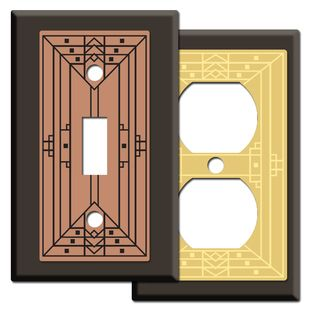 craftsman style light switch covers in brown decorative metaloutlet