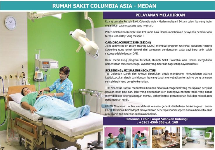 Informasi paket melahirkan hubungi: Rumah Sakit Columbia Asia - Medan Jl. Listrik No.2A, Medan  Sumatera Utara - Indonesia Telp. +6261 4566 368  Email. customercare.medan@columbiaasia.com 24 Hours Emergency Call +6261 4533 636