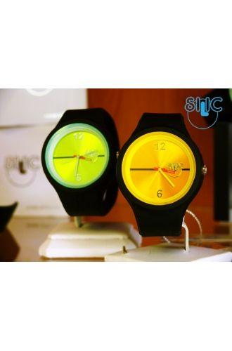 Silic Watch Color Round - žlutočerná