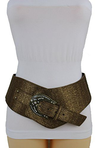 b5a63835742 Trendy Fashion Jewelry Women Wide Western Belt Hip Bling Rodeo Faux Leather  Size S M Bronze Brown