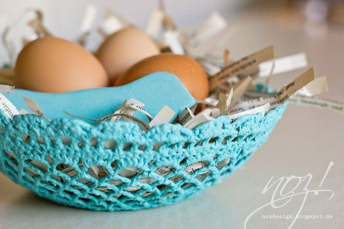 Klicke um das Bild zu sehen.  Osternest aus Häkeldeckchen – #aus #Häkeldeckche…