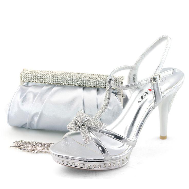 SHOEZY ladies silver prom crystal heel platform shoes ...