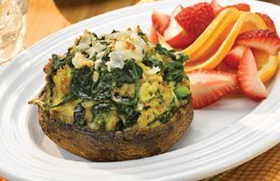 Herbed Spinach Quiche Portabella Caps