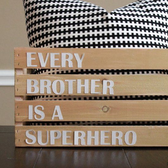 """Every brother is a superhero"" - diy decor for a boys room. Pottery Barn Knock-Off done for only $10."