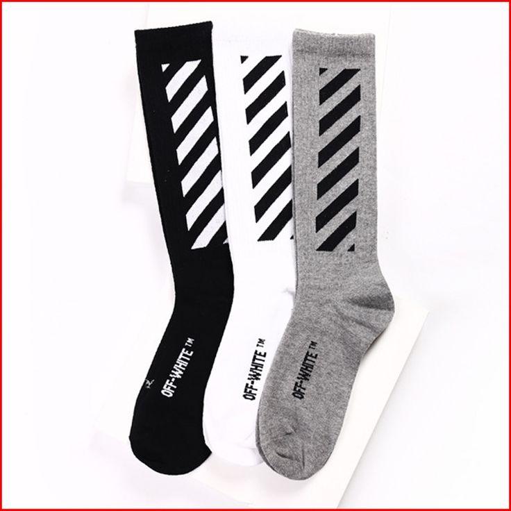 2017 מותג חדש גרבי עניבה מפוספס גברים היפ הופ דחיסת את גרביים לבנים ג 'סטין ביבר ארוך Mens נשים סקייטבורד גרביים
