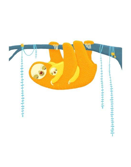 Sloth nursery art. jungle animals in orange, yellow, blue. LARGE 11 x 14 childrens art print. $30.00, via Etsy. £19.71