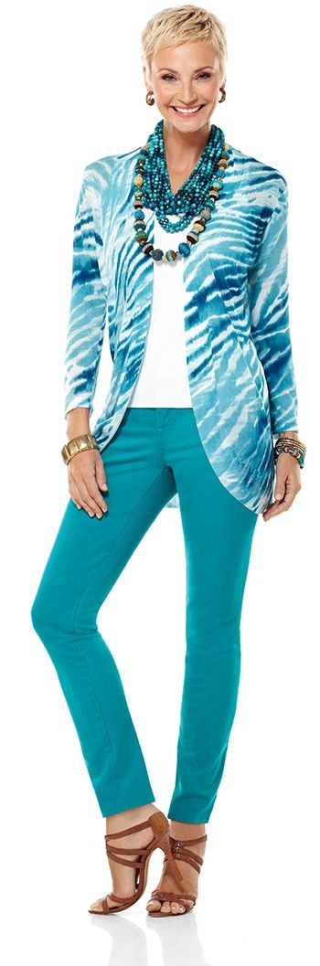 Pick a print that's the same color as your denim. #chicos Wow! My colors! Love it! C!