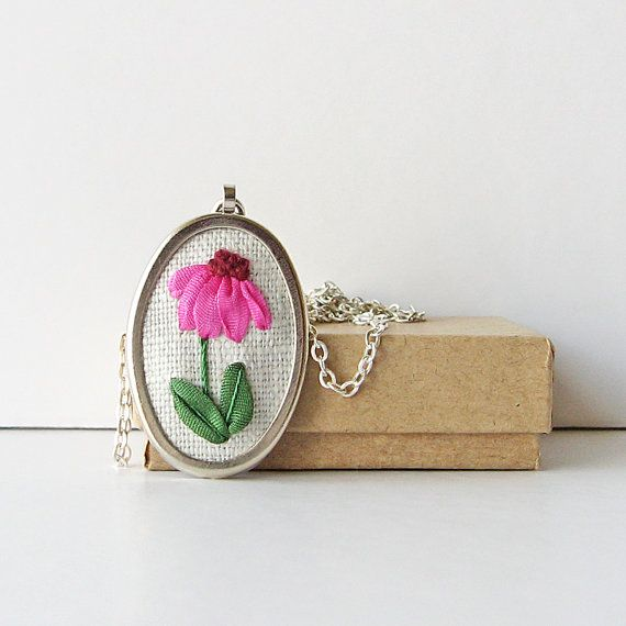 Coneflower necklace, Pink Echinacea necklace, embroidered pendant, gardener's gift, botanical jewelry, silk ribbon embroidery