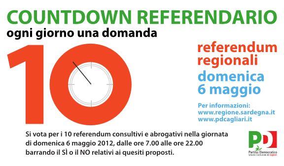 COUNTDOWN REFERENDARIO: ogni giorno una domanda. Parte il conto alla rovescia per i referendum sardi del 6 maggio 2012   Blog PD Cagliari