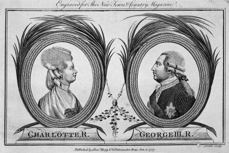 Charlotte Sophia of Mecklenburg-Strelitz; King George III. King George lost the American Colonies.