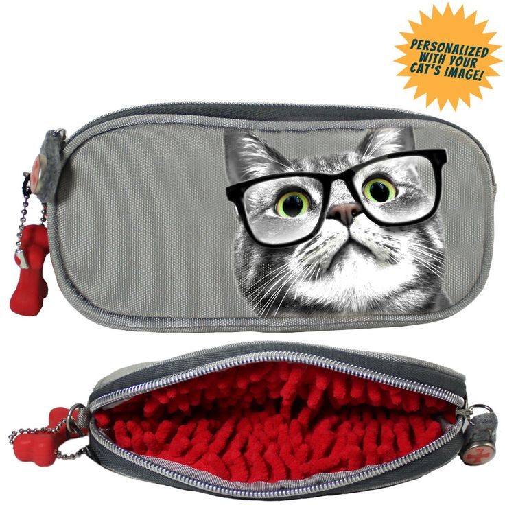 Fuzzy Nation Cat Personalized Eyeglass Case At The Animal