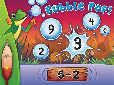 First- and second-grade students  race to solve skill-building math problems in 4 different categories by popping bubbles that show the correct answers in Lakeshore's Bubble Pop! Math Challenge Interactive Game! #software