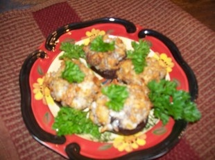 Mushrooms stuffed with sausage and cheese   – Mushrooms