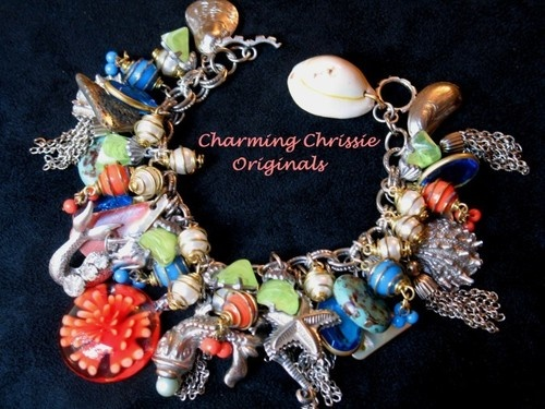 Vintage Sea Life Charm Bracelet New Altered Art Design Shell Mermaid Starfish   eBay