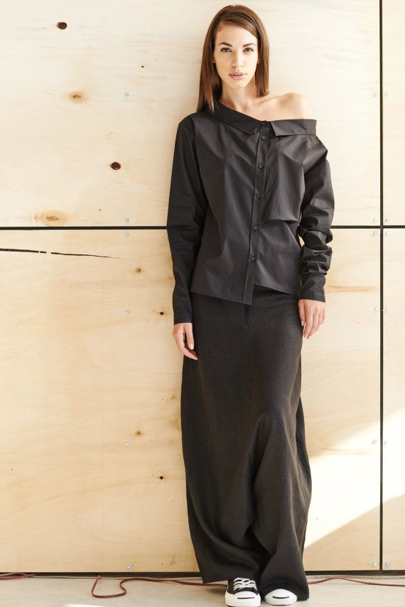 Black Linen Pants/ Extravagant Drop Crotch Black Pants/ Loose Linen Trousers/ Stylish Harem Pants by AryaSense