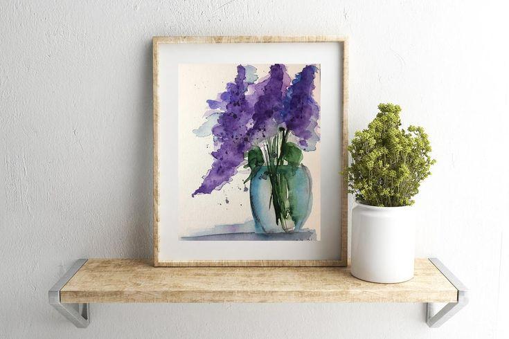 Ursprünglicher Aquarellaquarell-Malereibildkunstblumenblumenstrauß blüht abstrakte Blumen