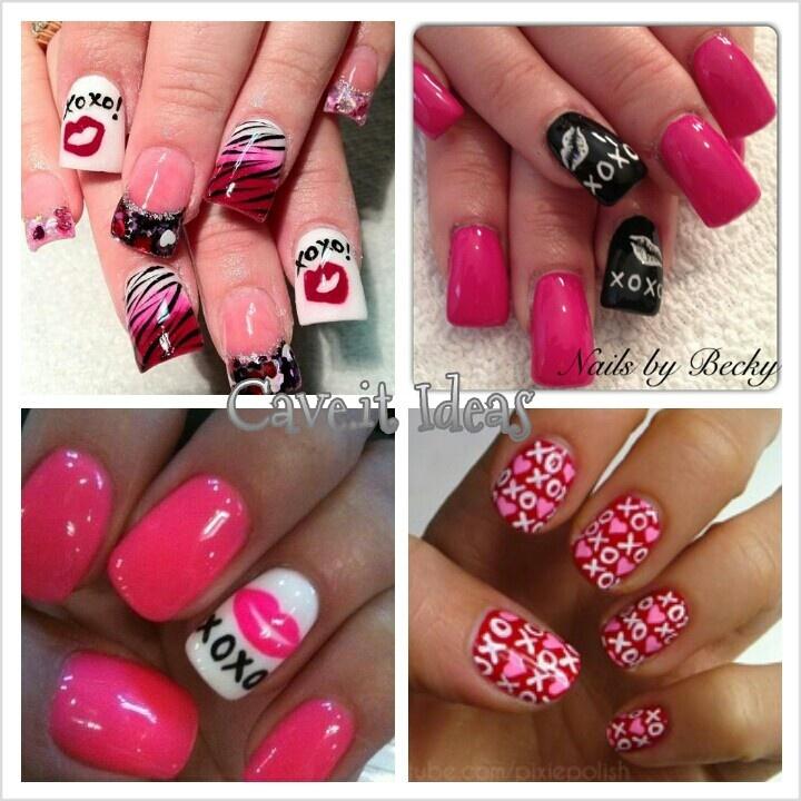 valentine's day toe nail art