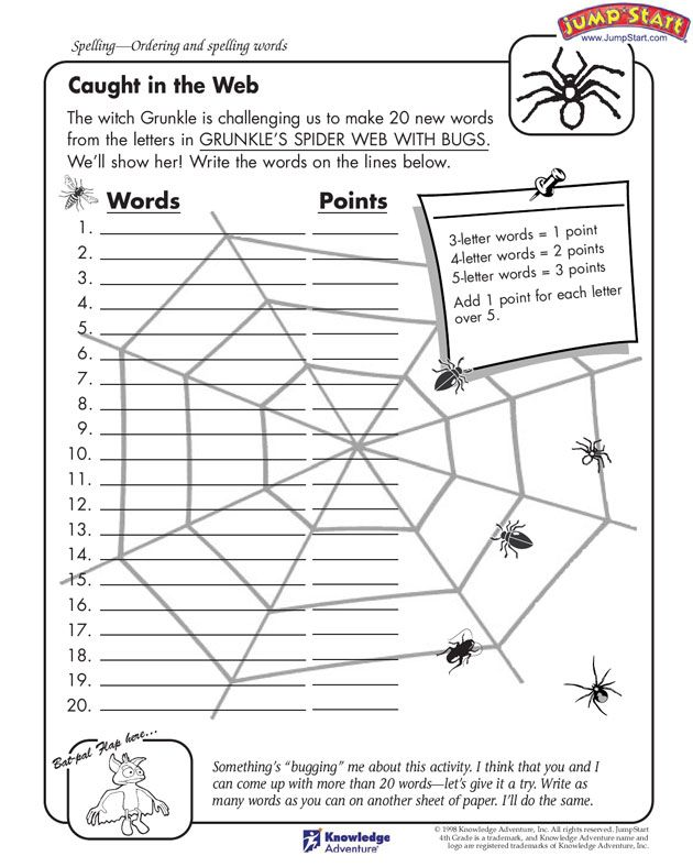 worksheet cute spider spelling activity building words out of the letters in a given phrase. Black Bedroom Furniture Sets. Home Design Ideas