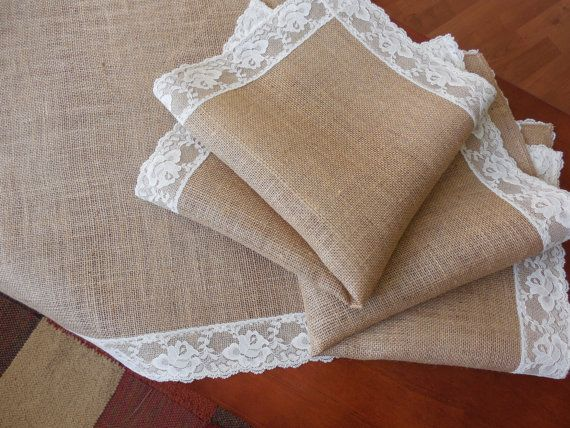 Burlap and lace table topper wedding table square rustic romantic decoration