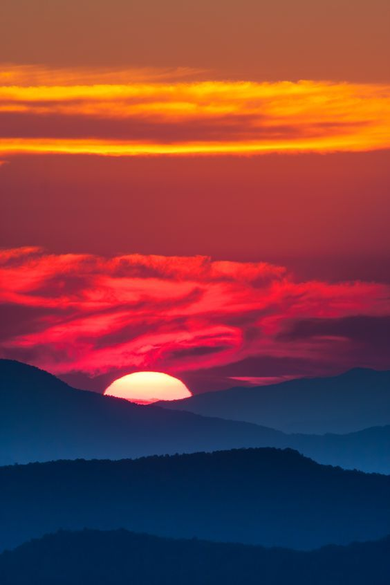 An amazing sunset in The Smoky Mountains.