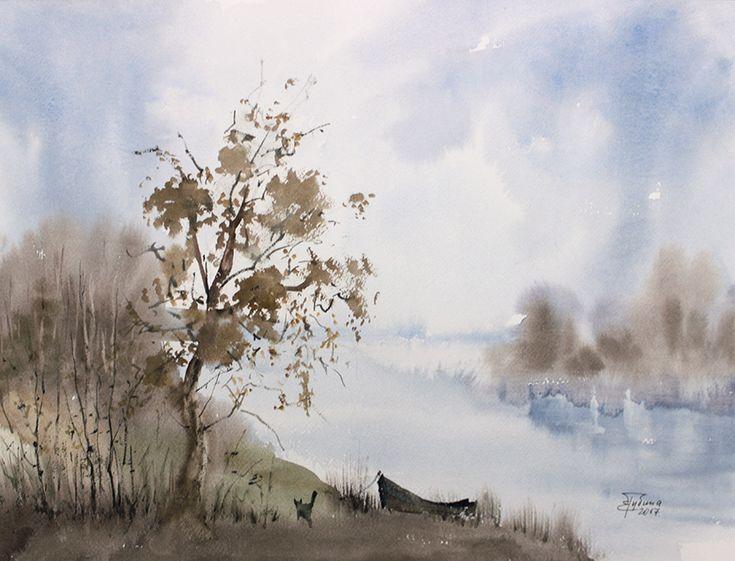 «Ноябрьский туман» живопись акварелью Екатерины Губиной