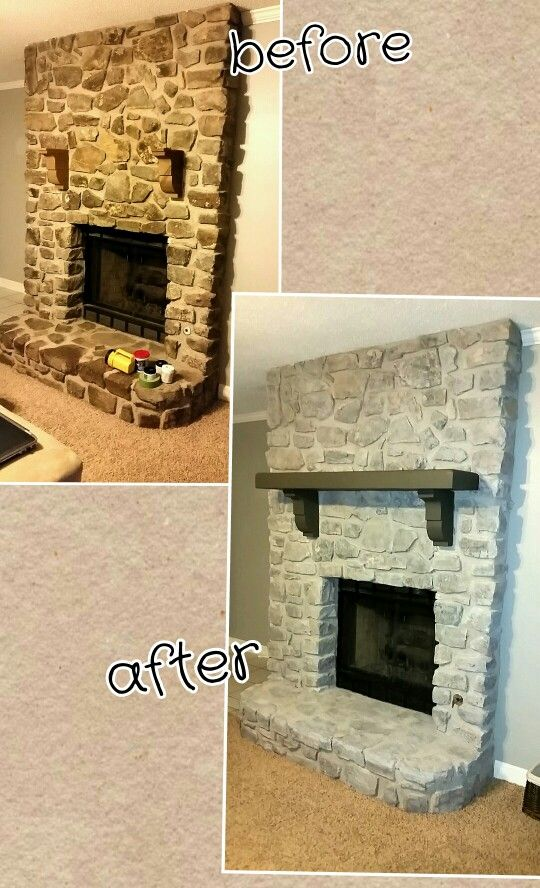 Finally done! Whitewashed my stone fireplace and sanded and painted my mantle.