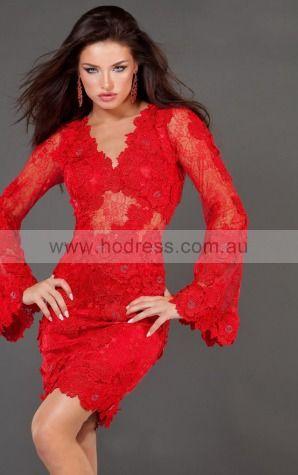 Long Sleeves None V-neck Short Lace Cocktail Dresses d130604213--Hodress