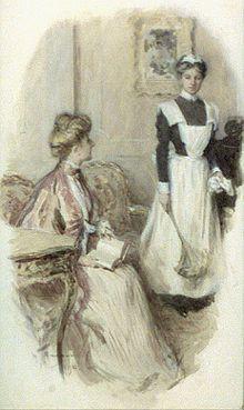 Las sirvientas. El traje de sirvienta se refiere al uniforme de trabajo de las sirvientas. Este tipo de uniformes, en sus formas actuales, apareció en Inglaterra a finales del siglo XIX. Imagen: Sirvienta en una imagen de 1906.