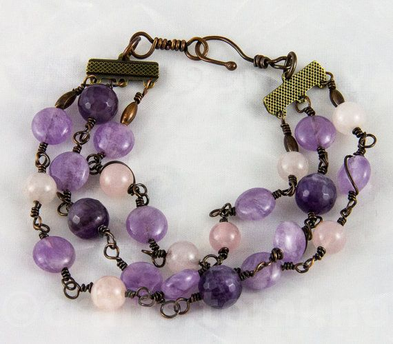 Genuine amethyst bracelet copper , purple bracelet adjustable with patinated copper and genuine rosenquartz