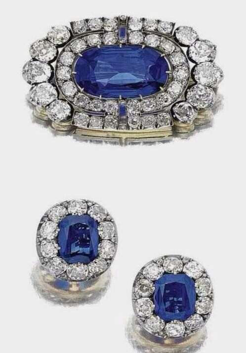 Suite of Sapphire jewelry, part of a grand Parure which belonged to Grand Duchess Vladimir of Russia. Inherited by her daughter and sold after the Bolshevik Revolution.