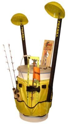 Transforms a common 5-6 gallon plastic pail into the ultimate organizer for ice rods, tackle boxes, tip-ups and ice fishing accessories. Velcro chosures attach everything snugly to the bucket. Separate storage pockets and sleeves. Frees up the inside of the bucket for more equipment.