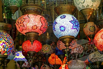 Colored Glass Lamps In Kalkan, Turkey